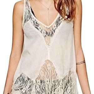 Free People Intimately Bell Lace Trapeze Top Ivory